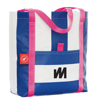 McWilliam Tote Bag - Blue with Pink Handle