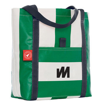 McWilliam Tote Bag - Green with Navy Handle