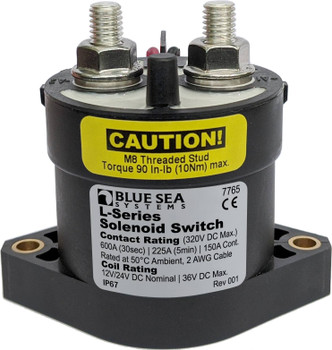 The Bluesea L Series Solenoid, Model 7765, 150A 12/24V is ideal for switching DC subpanels, thrusters, windlass, inverters and other medium-amp DC loads.