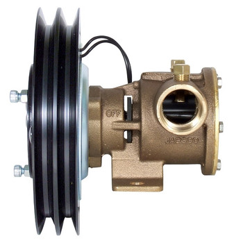 Jabsco 1'' Magnetic Clutch Bronze Pump - Double Pulley - 2A Groove - 12V (5A) - Side View