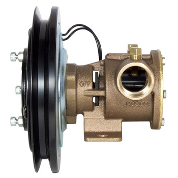 Jabsco 1'' Magnetic Clutch Bronze Pump - Single Pulley - 1B Groove - 24V (2.5A) - Side View
