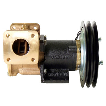 Jabsco 1 1/2'' Magnetic Clutch Bronze Pump - Double Pulley/Flanged Ports - 12V (5A) - Side View