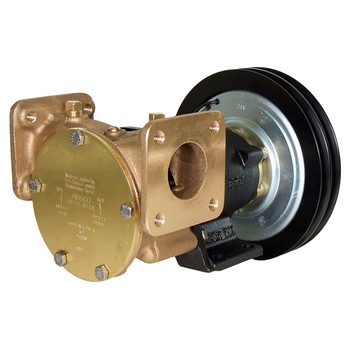 Jabsco 1 1/2'' Magnetic Clutch Bronze Pump - Double Pulley/Flanged Ports - 12V (5A)