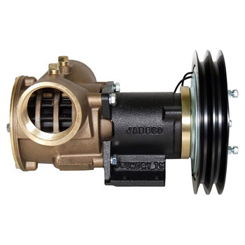 Jabsco 2'' Magnetic Clutch Bronze Pump - Double Pulley - 2A Groove - 12V (5A) - Side View