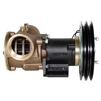 Jabsco 2'' Magnetic Clutch Bronze Pump - Double Pulley - 2A Groove - 24V (2.5A) - Side View