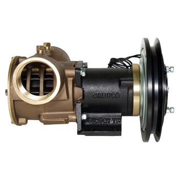 Jabsco 2'' Magnetic Clutch Bronze Pump - Single Pulley - 1B Groove - 24V (2.5A) - Side View