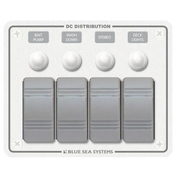 Blue Sea Contura 12V Circuit Breaker Panel - White - 4 Switch/Position