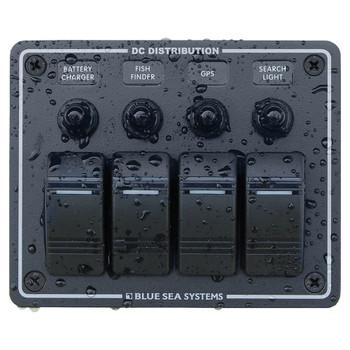 Blue Sea Water Resistant Circuit Breaker Panel - 4 Position - Black