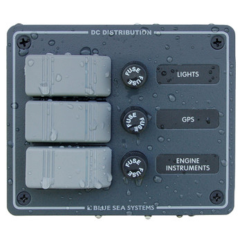 Blue Sea Contura Fuse Panel - 3 Position - Slate Grey
