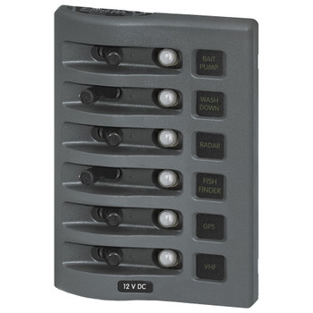 Blue Sea WeatherDeck Waterproof Circuit Breaker Panel - 6 Position - Grey