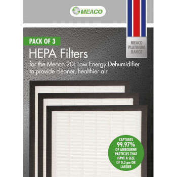 Meaco HEPA Filter For Meaco 20L Pack aof 3