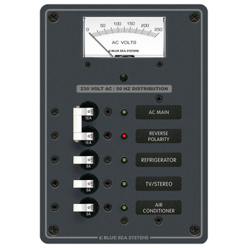 Blue Sea Power Distribution Panel/AC Main with Voltmeter - 3 Position