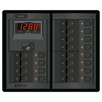 Blue Sea 360 System Distribution Panel - 12V - 12 Position/Switch
