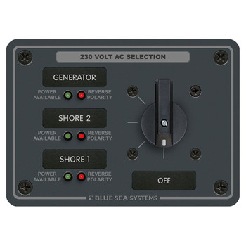 Blue Sea AC Rotary Switch Panel - 3 Position - 230V (30A)
