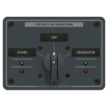Blue Sea AC Rotary Switch Panel - 2 Position - 230V (30A)