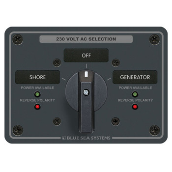 Blue Sea AC Rotary Switch Panel - 2 Position - 230V (65A)