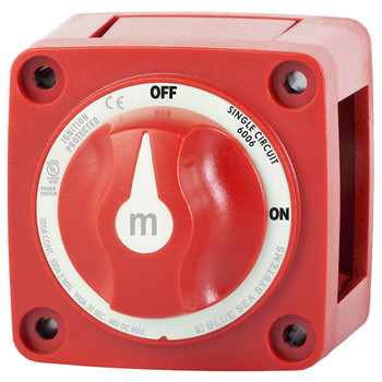 Blue Sea M-Series Battery Switch with Knob - 300A - On/Off - Red - Side View