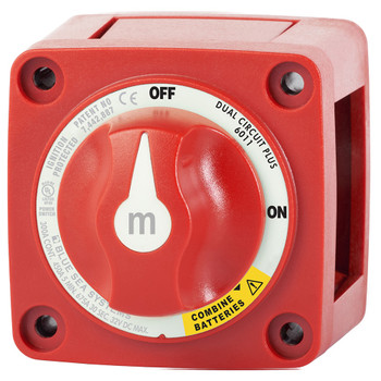 Blue Sea M-Series Mini Dual Circuit Plus Battery Switch - 300A - Red - Side View