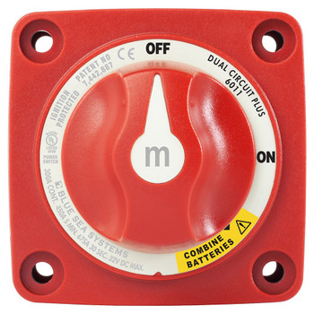 Blue Sea M-Series Mini Dual Circuit Plus Battery Switch - 300A - Red