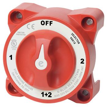 Blue Sea E-Series Selector Battery Switch - 350A - Off (1+2) - Red