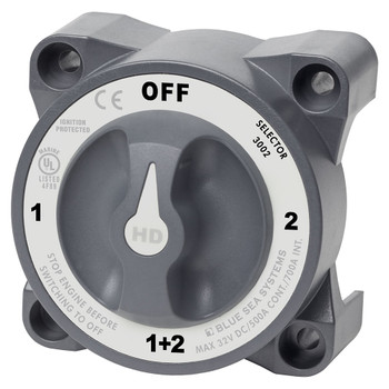 Blue Sea HD Series Heavy Duty Selector Battery Switch - 600A - Off (1+2) - Grey
