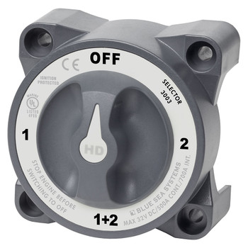 Blue Sea HD Series Heavy Duty Selector Battery Switch with AFD - 600A - Off (1+2) - Grey