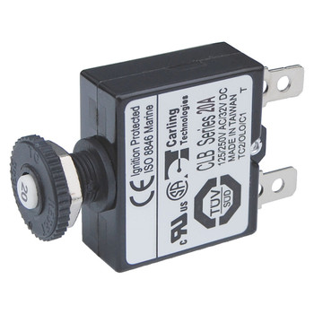Blue Sea Push Button Quick Connect Circuit Breaker - Reset Only - 20A