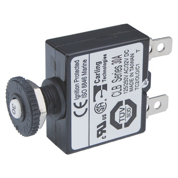 Blue Sea Push Button Quick Connect Circuit Breaker - Reset Only - 30A