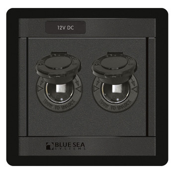 Blue Sea Dual Socket Panel - 12V