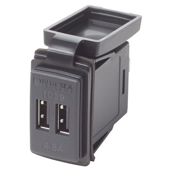 Blue Sea Fast Charge Dual USB Charger - Switch Mount - 12V/24V (4.8A)