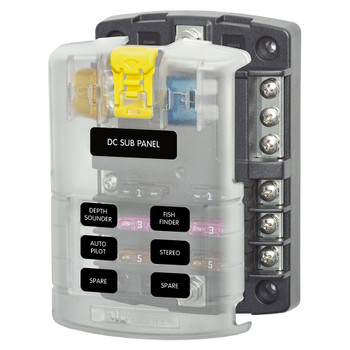 Blue Sea ST Blade Fuse Block - 6 Circuit with Negative Bus and Cover
