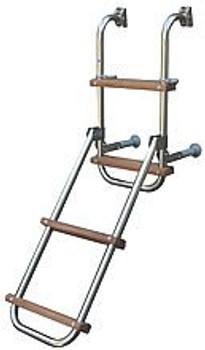Trem Stainless Steel Folding Boarding Ladder w/ 2 + 2 Wooden Steps