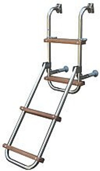 Trem Stainless Steel Folding Boarding Ladder w/ 2 + 2 Wooden Steps