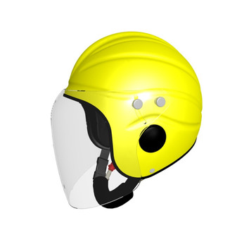 Gecko Open Face Helmet Yellow with Long Clear Visor