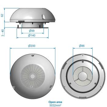 Roca Polar Mushroom Vent with S/S Cover - 200mm OD