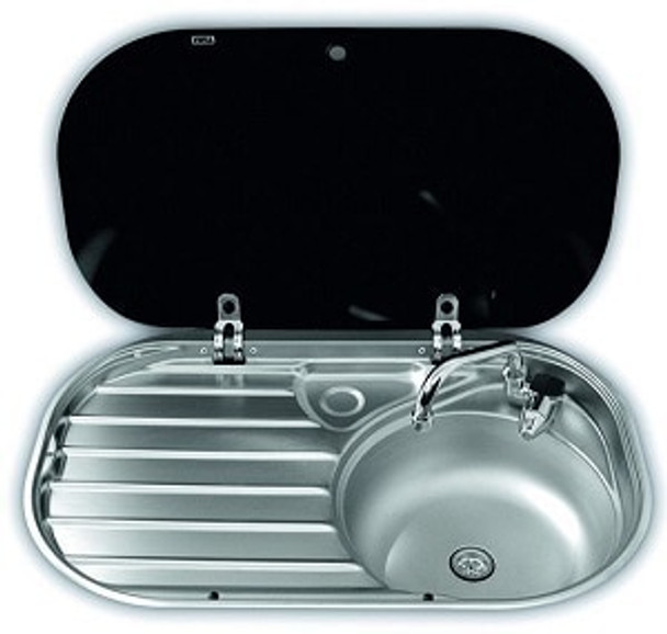 Dometic S/S Right Hand Sink with Drainer & Glass Lid - 680mm