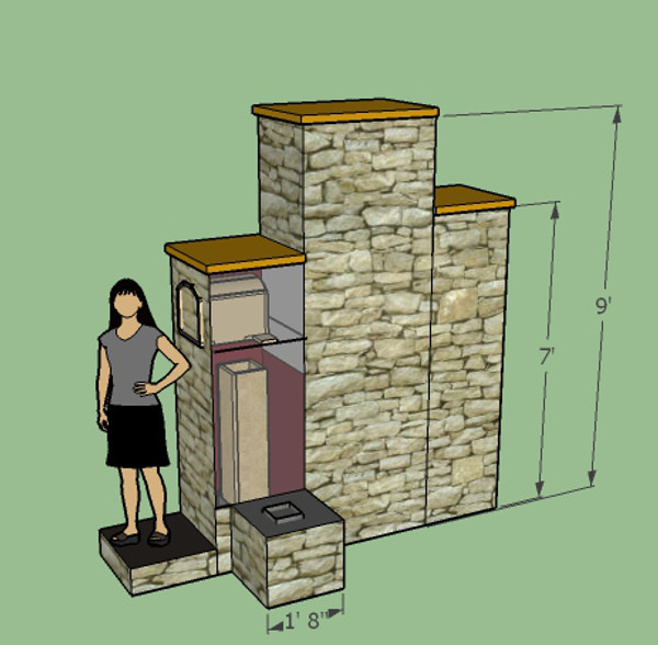 "An 8"" Castle Build with an oven sitting immediately on top of the heat riser. In this position, it will get warm enough to cook pizzas. The exhaust goes all around the oven and passes into the 9' tall first bell. This chamber is 24"" x 36"" and is made using the cutting and stacking pattern shown in images 4 and 5."