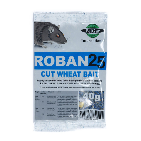 Mouse Poison sachets Cut Wheat 40g Roban 25