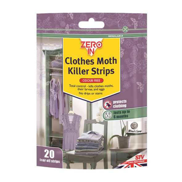 Zero In Clothes Moth Killer Strips 20 Tear Off Strips (ZER429)