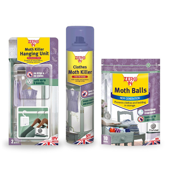 Zero In Clothes Moth Spray with Moth Balls and Hanging Moth Killer Unit