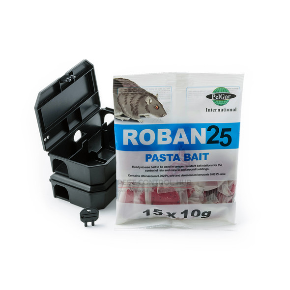 Mouse Poison Killer Pasta Sachet with Bait Station Boxes Roban 25
