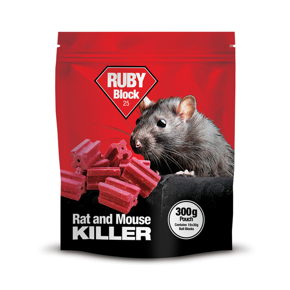 Lodi Ruby Block 25 Rat and Mouse Killer Poison Difenacoum Pouch