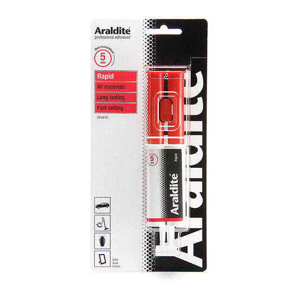 Araldite Epoxy Glue Rapid 24ml Syringe Adhesive