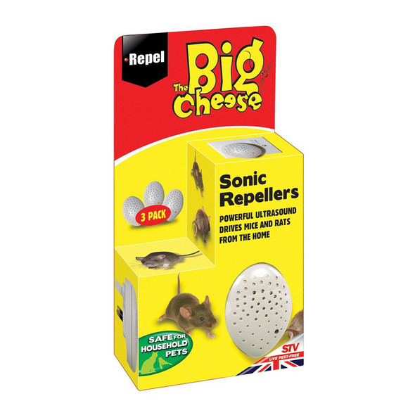 The Big Cheese Mouse and Rat Sonic Rodent Repellers 3 Pack