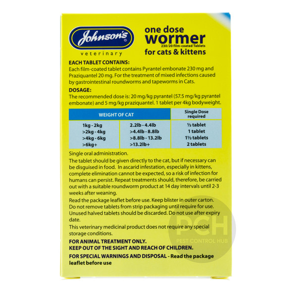 Johnsons One Dose Wormer for Cats and Kitten