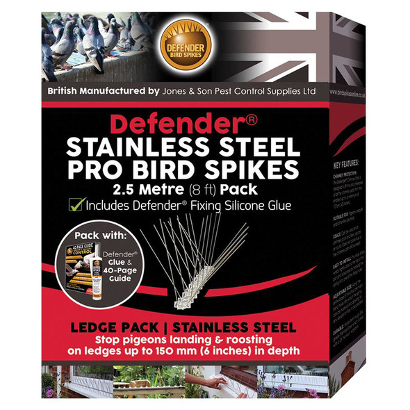 Defender Stainless Steel Pro Anti Bird Spikes 2.5 Metre with Silicone Glue