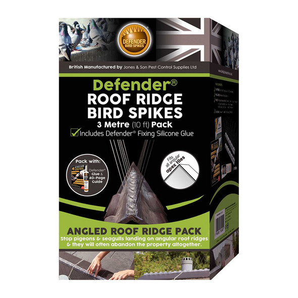 Defender Angled Roof Ridge Anti Bird Spikes 3 Metre with Silicone Glue