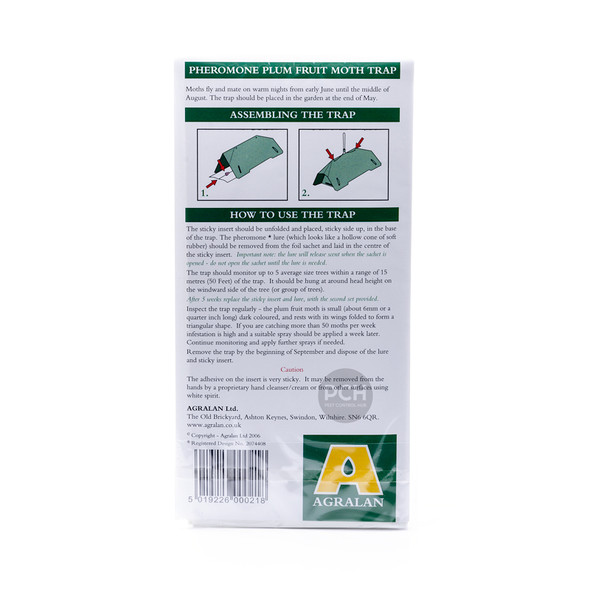 Agralan Plum Fruit Moth Trap Refill for Plums, Gages and Damsons (Back)