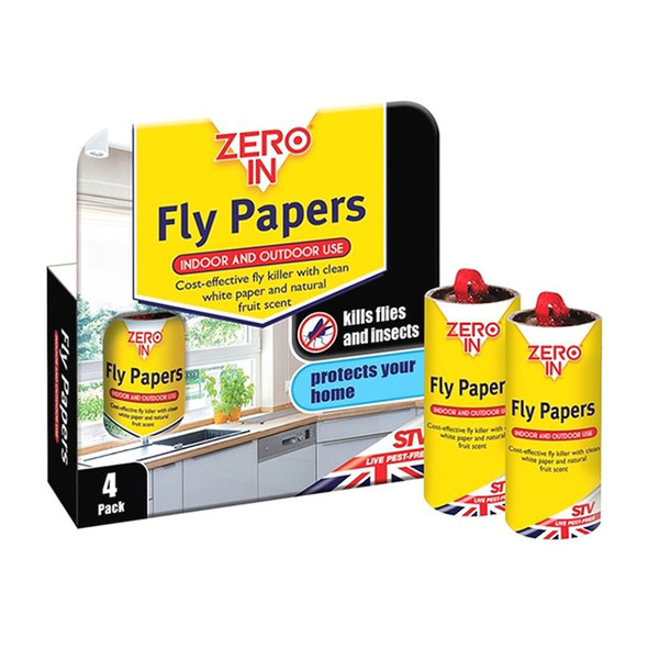 Zero In Sticky Fly Papers for Flies and Insects 4 Pack (ZER015)