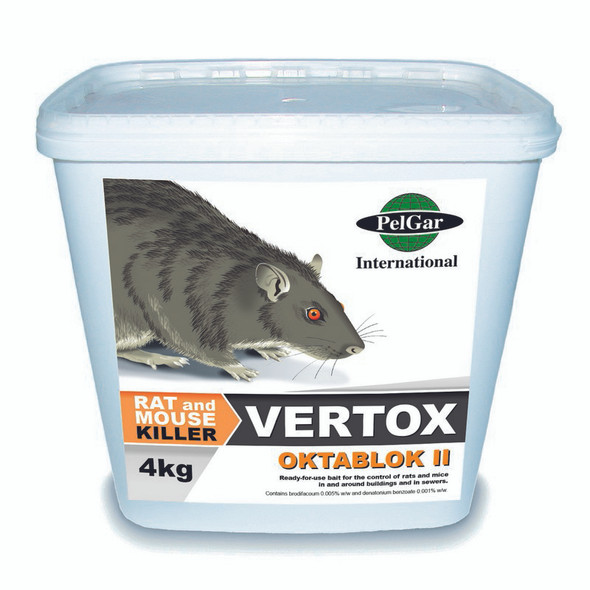 Pelgar Vertox Oktablok II Rat and Mouse Poison 50PPM 4kg
